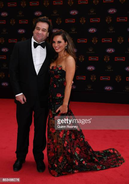 Mick Molloy and Susie McLean arrive ahead of the 2017 Brownlow Medal at Crown Entertainment Complex on September 25 2017 in Melbourne Australia