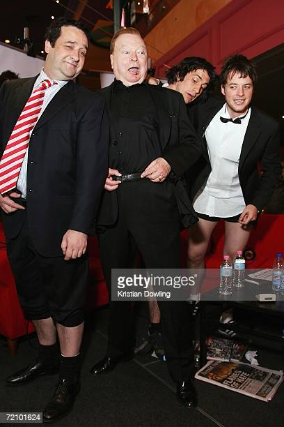 Mick Molloy Bert Newton Andy Lee and Hamish Blake pose together during the Fox FM broadcast at the Australian premiere of the new comedy 'BoyTown' at...