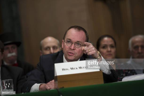 Mick Mulvaney acting director of the Consumer Financial Protection Bureau speaks during a Senate Banking Housing Urban Affairs Committee hearing in...
