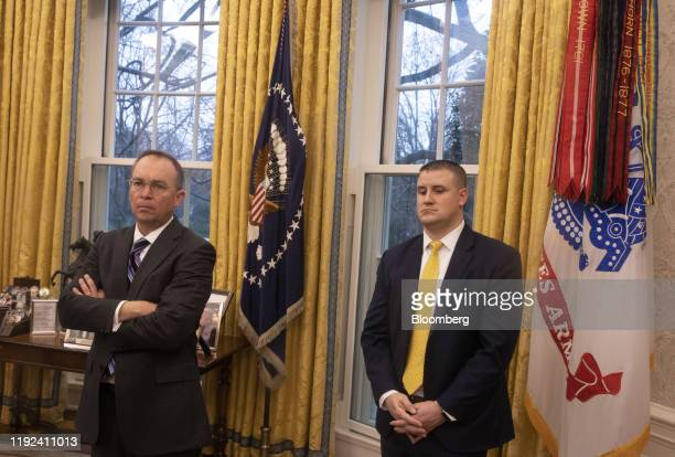 Mick Mulvaney acting White House chief of staff left attends a meeting with US President Donald Trump and Kyriakos Mitsotakis Greece's prime minister...