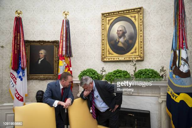 Mick Mulvaney acting White House chief of staff left speaks with Bill Shine White House communications director during a meeting on trade talks...