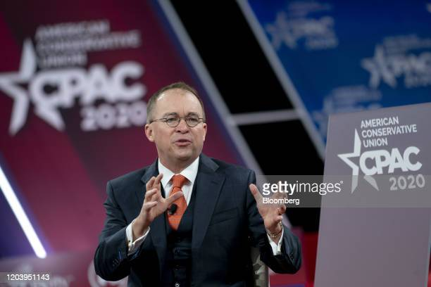 Mick Mulvaney acting White House chief of staff speaks during a discussion at the Conservative Political Action Conference in National Harbor...