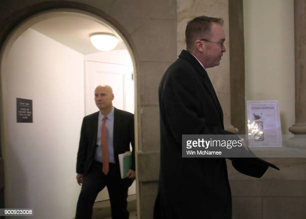 Mick Mulvaney Director of the Office of Management and Budget and Legislative Affairs Director Marc Short arrive at the US Capitol outside Speaker of...