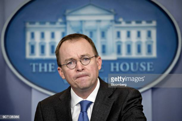 Mick Mulvaney director of the Office of Management and Budget listens to a question during a press briefing at the White House in Washington DC US on...