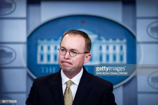Mick Mulvaney Director of the Office of Management and Budget listens to questions during a briefing at the James S Brady Press Briefing Room of the...