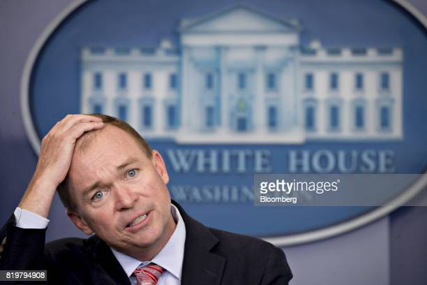 Mick Mulvaney director of the Office of Management and Budget pauses while speaking during a White House press briefing in Washington DC US on...