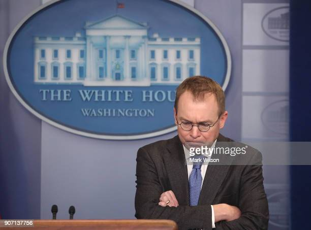 Mick Mulvaney Director of the Office of Management and Budget speaks to reporters about the possibility of a government shutdown at midnight tonight...