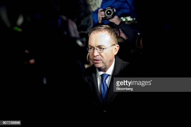 Mick Mulvaney director of the Office of Management and Budget speaks to members of the media while walking towards the West Wing of the White House...