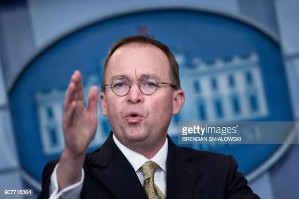 Mick Mulvaney Director of the Office of Management and Budget speaks during a briefing at the James S Brady Press Briefing Room of the White House on...