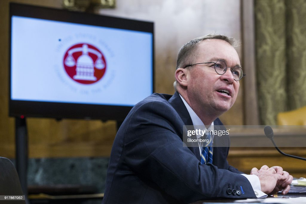 Mick Mulvaney, director of the Office of Management and Budget (OMB), speaks during a Senate Budget Committee hearing in Washington, D.C., U.S., on Tuesday, Feb. 13, 2018. Mulvaney discussed the $4.4 trillion federal budget plan that would slash entitlements and other domestic programs in favor of higher spending on the military and immigration enforcement. Photographer: Zach Gibson/Bloomberg via Getty Images