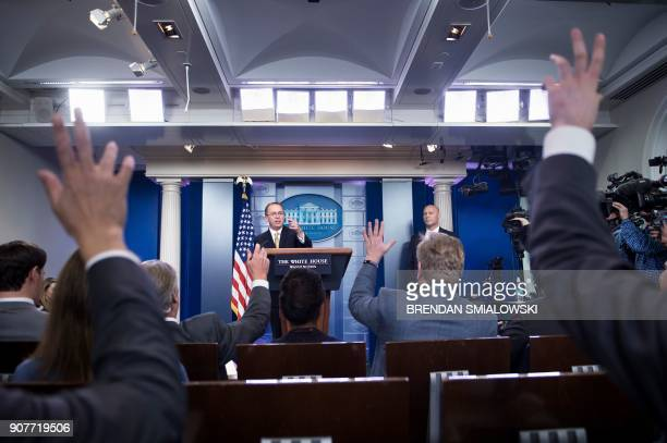 Mick Mulvaney Director of the Office of Management and Budget takes questions during a briefing at the James S Brady Press Briefing Room of the White...