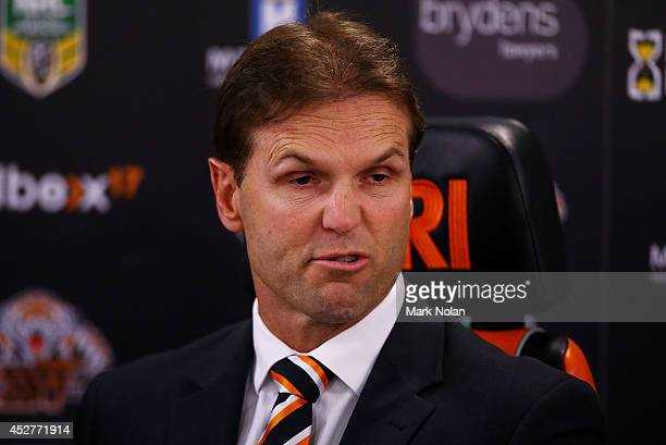 Mick Potter talks to the media after the round 20 NRL match between the Wests Tigers and the St George Illawarra Dragons at ANZ Stadium on July 27,...