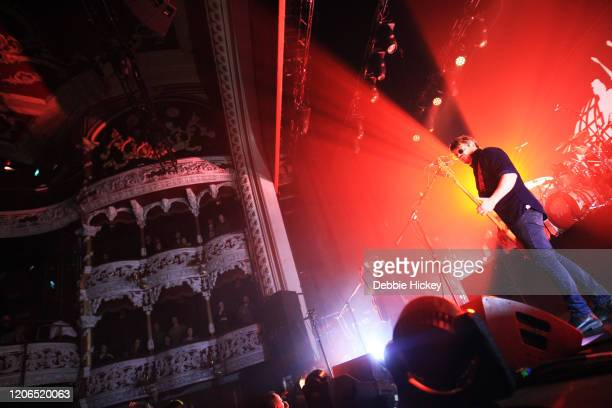 Mick Quinn and Gaz Coombes of Supergrass perform at Olympia Theatre on February 15, 2020 in Dublin, Ireland.