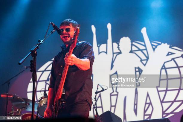Mick Quinn of Supergrass performs at Alexandra Palace on March 06, 2020 in London, England.