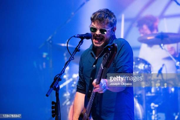Mick Quinn of Supergrass performs at South Facing Festival on August 20, 2021 in London, England.
