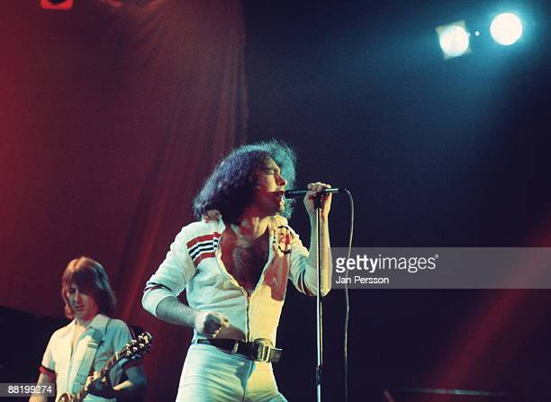 Mick Ralphs Paul Rodgers of Bad Company perform on stage on February 17 1976 in Copenhagen Denmark