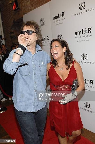 Mick Rock and Andrea Bernholtz at the 16th Annual amfAR Rocks Benefit September 24, 2007 at the Puck Building in New York City.