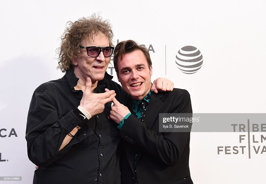 Mick Rock (L) and director Barnaby Clay attend 'SHOT! The Psycho-Spiritual Mantra Of Rock' Screening during 2016 Tribeca Film Festival on April 22, 2016 in New York City.
