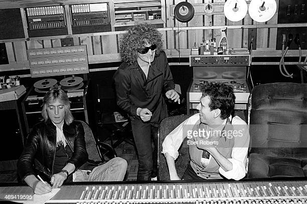 Mick Ronson Ian Hunter and Mick Jones of The Clash at the Power Station in New York City on February 13 1981