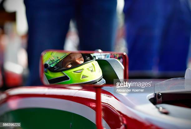 Mick Schumacher 17 yearold and son of former Formula 1 driver Michael Schumacher prepares for qualifying with his Formula 4 racing car in the ADAC GT...