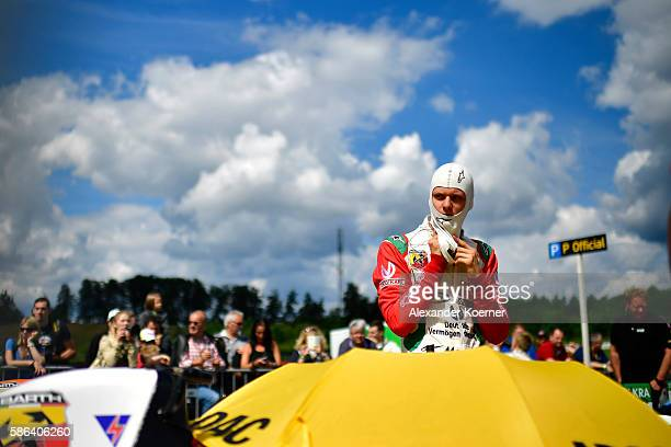 Mick Schumacher 17 yearold and son of former Formula 1 driver Michael Schumacher prepares for the first race of three with his Formula 4 racing car...