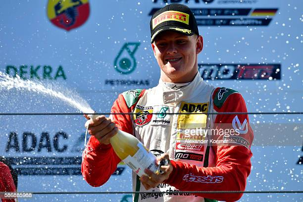Mick Schumacher 17 yearold and son of former Formula 1 driver Michael Schumacher finishes in second place during the third race in the Formula 4 ADAC...