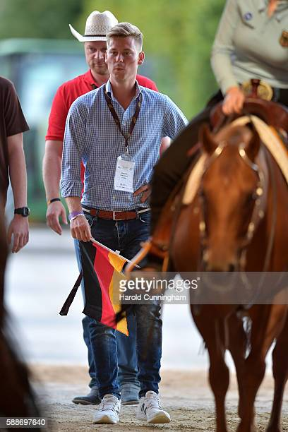 Mick Schumacher attends the SVAG FEI European Championship Reining Young riders 2016 at the CS Ranch on August 12 2016 in Givrins Switzerland
