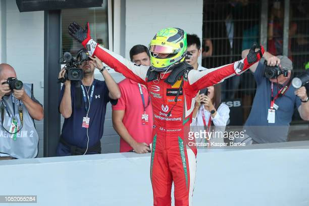 Mick Schumacher celebrates after he finishes in second place in the final race to win the European Formula 3 Championship 2018 at Hockenheimring on...
