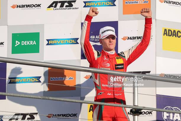Mick Schumacher celebrates after he wins the second place in race and the Formula 3 Championship 2018 at Hockenheimring on October 13 2018 in...