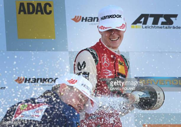 Mick Schumacher celebrates after winning the FIA Formula Three European Championship at the Hockenheim race track in Hockenheim western Germany on...