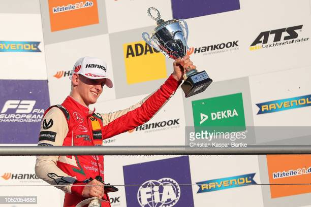 Mick Schumacher celebrates the second place in the second race and wins the European Formula 3 Championship 2018 after the final race of the Formula...