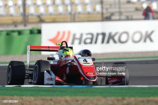 Mick Schumacher drives during first practice of the final final race for the Formula 3 Championship on track at Hockenheimring on October 12 2018 in...