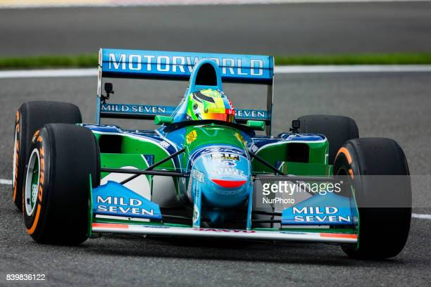 Mick Schumacher driving his father's car on the 25th anniversary of the F1 Bennetton of Michael Schumacher during the Formula One Belgian Grand Prix...