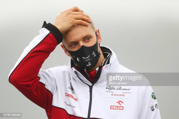 Mick Schumacher of Germany and Alfa Romeo Racing walks the track during previews ahead of the F1 Eifel Grand Prix at Nuerburgring on October 08, 2020...