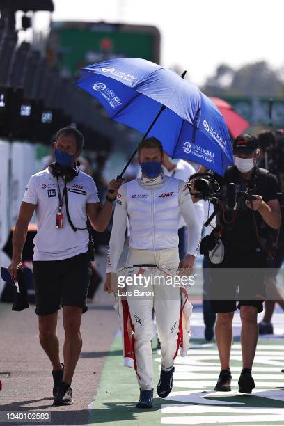Mick Schumacher of Germany and Haas F1 prepares to drive on the grid during the F1 Grand Prix of Italy at Autodromo di Monza on September 12, 2021 in...