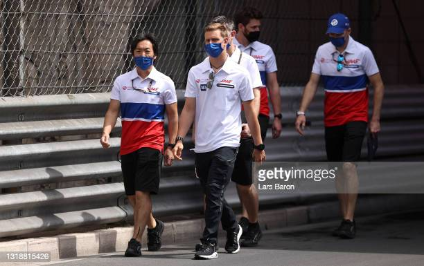 Mick Schumacher of Germany and Haas F1 walks the track with his team during previews ahead of the F1 Grand Prix of Monaco at Circuit de Monaco on May...