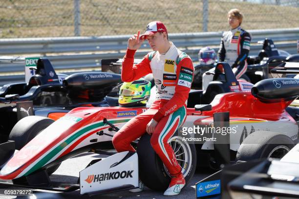 Mick Schumacher of Germany and Prema Powerteam poses for a group photograph during the official testdays FIA F3 European Championship at Red Bull...