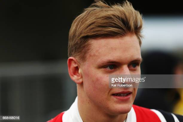 Mick Schumacher of Germany and Prema Powerteam prepares to drive during qualifying for the European Formula 3 Series at Silverstone on April 14 2017...