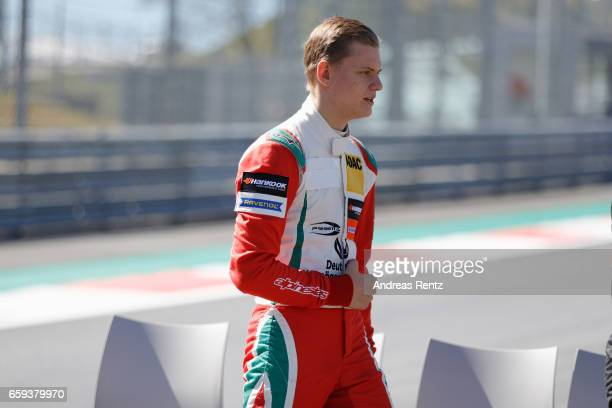 Mick Schumacher of Germany and Prema Powerteam walks on track during a photoshoot during the official testdays FIA F3 European Championship at Red...
