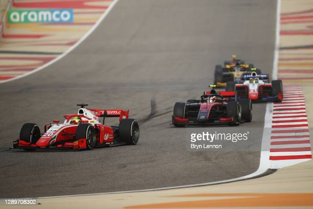 Mick Schumacher of Germany and Prema Racing leads Callum Ilott of Great Britain and UNI-Virtuosi Racing during the Round 12:Sakhir Sprint Race of the...