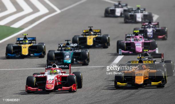 Mick Schumacher of Germany and Prema Racing leads the field at the start during the sprint race of the F2 Grand Prix of Bahrain at Bahrain...