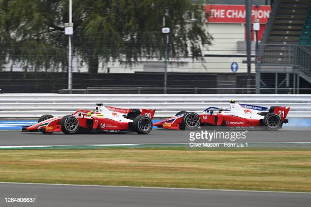 Mick Schumacher of Germany and Prema Racing overtakes Robert Shwartzman of Russia and Prema Racing during the sprint race of the Formula 2...