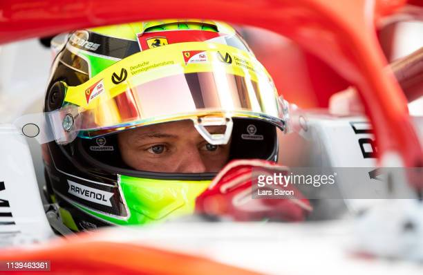 Mick Schumacher of Germany and Prema Racing prepares to drive on the grid during the sprint race of the F2 Grand Prix of Bahrain at Bahrain...