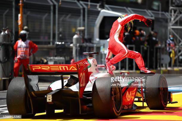 Mick Schumacher of Germany and Prema Racing retires after his fire extinguisher went off in his car during the sprint race for the Formula 2...