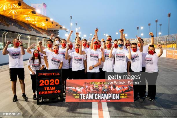 Mick Schumacher of Germany and Prema Racing, Robert Shwartzman of Russia and Prema Racing, 2020 FIA F3 Champion Oscar Piastri of Prema Racing and...