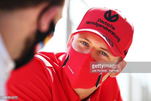 Mick Schumacher of Germany and Prema Racing talks to the media in the Pitlane during previews ahead of Round 11:Sakhir of the Formula 2 Championship...