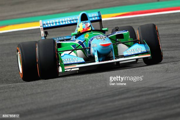 Mick Schumacher of Germany drives his father Michael Schumacher's Benetton Ford B194 on track before the Formula One Grand Prix of Belgium at Circuit...