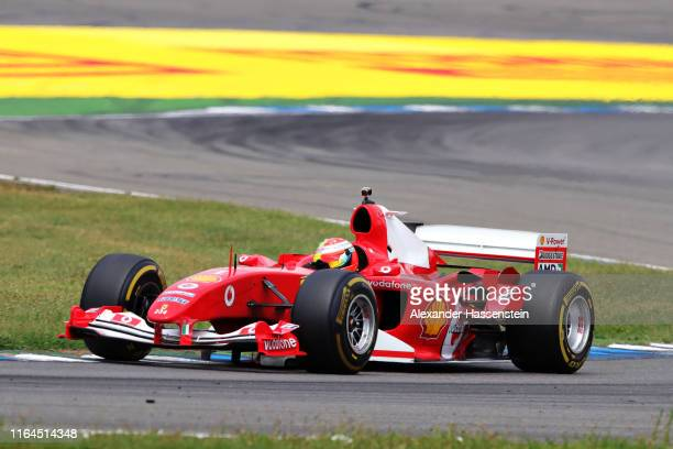 Mick Schumacher of Germany drives the Ferrari F2004 of his father Michael Schumacher on track after final practice for the F1 Grand Prix of Germany...