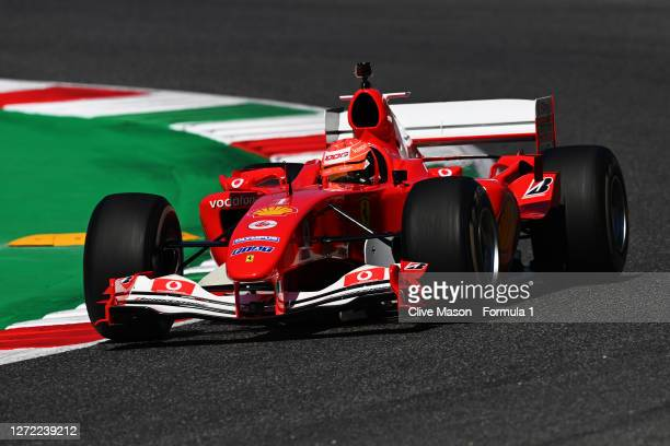 Mick Schumacher of Germany drives the Ferrari F2004 of his father Michael Schumacher before the F1 Grand Prix of Tuscany at Mugello Circuit on...