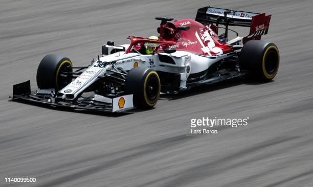Mick Schumacher of Germany driving the AlfaRomeo Racing C38 Ferrari during F1 testing in Bahrain at Bahrain International Circuit on April 03 2019 in...